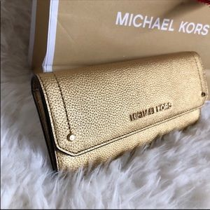 Michael Kors gold leather wallet New With Tags